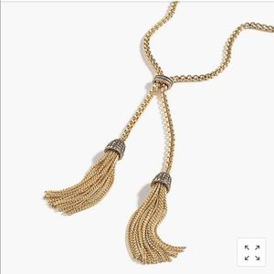 J.crew pave tassel chain necklace